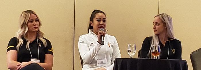 Three athletes on the Female Empowerment through Sports Panel